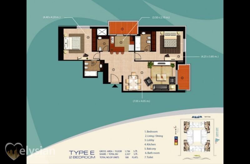 Investment! 2 BR , SEA VIEW,Sulafa 2mln
