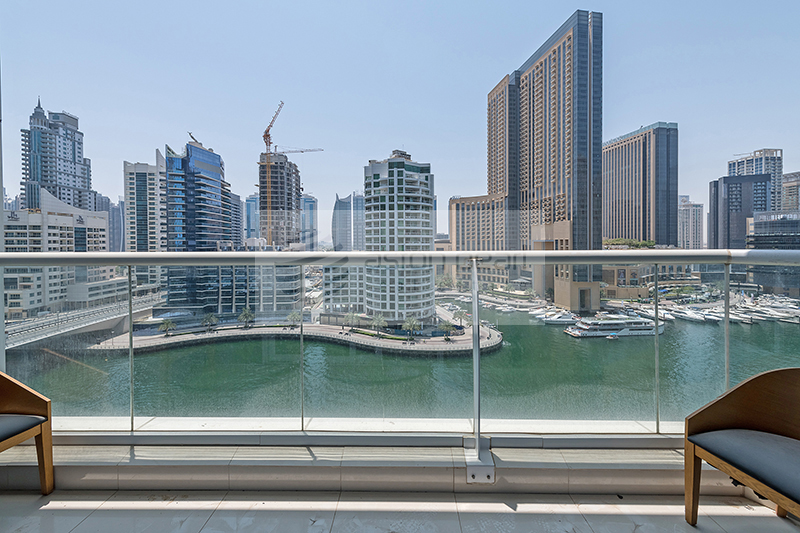 Spacious 2BR+M, Large Balcony, Full Marina View